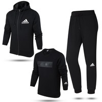 Adidas Fashion Plus Velvet Hooded Cardigan Jacket Coat Top Sweater Pants Trousers Set Three-Piece