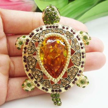 Zircon Crystal Luxury Vintage Turtle Animal Pendant Brooch Pin Brown Tortoise