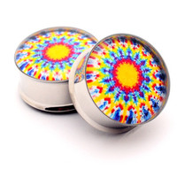 Tie Dye Picture Plugs STYLE 2 gauges - 00g, 1/2, 9/16, 5/8, 3/4, 7/8, 1 inch