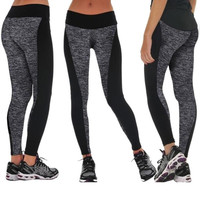 Women Fashion Black And Gray Paneled Plus Slimming Pants Leggings For Running/Yoga/Sport S M L XL = 1933154436