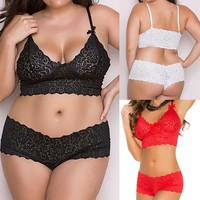 Plus Size Women Sexy Lingerie Lace Underwear Babydoll Sleepwear Top Bra+Briefs