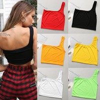 6 Colors Sexy Women's Summer Single Shoulder Tube Crop Top Casual Sport Bra Slim Camis Tank Vests summer t-shirts