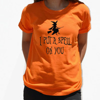 I put a spell on you tshirt Halloween Shirt Graphic Tee with witch on broom spooky funny tee shirt