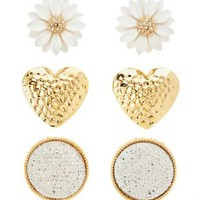 Oversized Daisy & Heart Earrings - 3 Pack by Charlotte Russe - Gold
