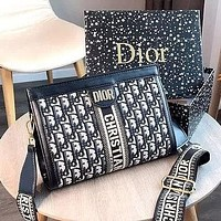 Dior New Wide Shoulder Strap Crossbody Bag Female Shoulder Bag Messenger Bag