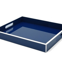 Elle Lacquer Serving Tray Navy Blue 14x17