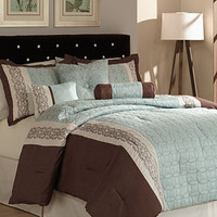 Ashbery 7 Piece Embroidered Comforter Set - Bed in a Bag - Bed & Bath - Macy's