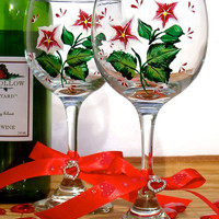 Hand Painted Wine Glasses With Red Flowers