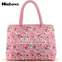 Cute Hello Kitty Double Layer Mummy Bag Girl's Women's High Capacity Travel Casual Messenger Tote Organizer Oxford Cloth Handbag