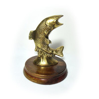 Vintage Small Brass Fish Trophy Fish Sculpture Small Fish Metal Fish Brass Decor Fish Table Decor Fishing Gifts Fish Decorations Salmon Fish