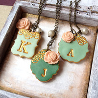 Bridesmaid Necklace - Emerald Green, Mint and Peach -  Set of 3