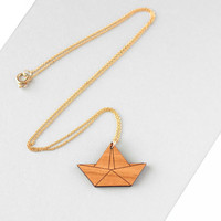 Wooden Origami Boat Necklace - Modern Handmade Jewellery