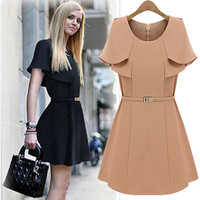 Cape-Sleeve A-Line Dress