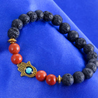 Natural Lava Rock Volcanic Stone Beads Inlaid Turquoise Palm of the Hand of Fatima Beads String Bracelet