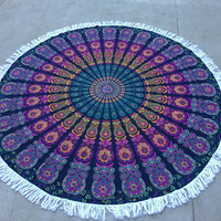 Beach spread, yoga spread, floor picnic spread, table cloth, round mandala