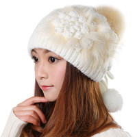 Luxury Winter Beanie Warm Classic Tight Knitted Faux Fur Hat Women Cap Winter Beanie Headgear Headdress Head Warmer Top Quality