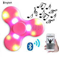 Wireless Bluetooth speaker With Colorful fidget spinner glow in the dark toy Rotating Sound MP3 Speakers Fingertip gyro