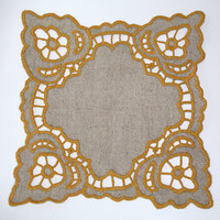 Polish Square Richelieu Linen Traycloth, Doily, Vintage Crochet Dresser Scarf, cutwork embroidery, Polish linen Wedding richelieu embroidery