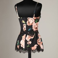 Rose print and lace camisole Women - Rose print and lace camisoles Women on Dolce&Gabbana Online Store United States - Dolce & Gabbana Group