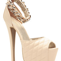 Nude Faux Leather Chained Ankle Strap Quilted Platform Heels