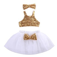 Tops Vest Tutu Skirts Cute Ball Headband 3pcs Outfits Set Girls Clothing Princess Toddler Kids Baby Girl Clothes Sets Sequins