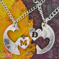Double Hearts Custom with initials, Love quarter, Couples hand cut coin