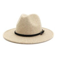Wool Jazz Wide Brim Plain Felted Hat