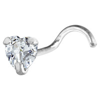 Sterling Silver 925 Clear CZ Heart Nose Ring | Body Candy Body Jewelry