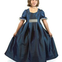 Lovely Victorian Style Blue Taffeta Dress Girls by SeamsVictorian