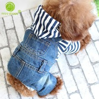 Trendy Autumn Stripe Plaid Four Legs Dog Clothes Denim Dog Jumpsuit for Small Medium Dogs Puppy One-piece Jacket Coat Overalls for Dogs AT_94_13