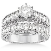 Antique Diamond Wedding and Engagement Ring Set Platinum (2.15ct)