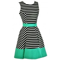 Lily Boutique Black and White Green Stripe Dress, Black and White Stripe A-Line Dress, Black and White Colorblock Stripe Dress, Black and White Summer Dress, Nautical Stripe Dress Lily Boutique