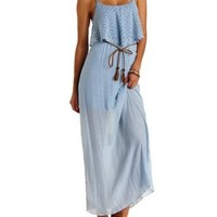 Periwinkle Crochet Flounce Layered Maxi Dress by Charlotte Russe