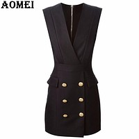 Women Summer V-Neck Black Dresses Vestidos Sleeveless Office Work Wear Slim Sundress Double Button Sexy Workwear Dress Fall Robe