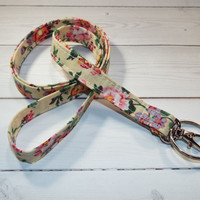 Skinny lanyard tiny yellow flowers floral