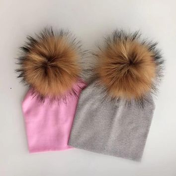 winter children's infant toddler hat cap Kids baby boys girl cotton newborn photography props raccoon faux fur pompom hat beanie