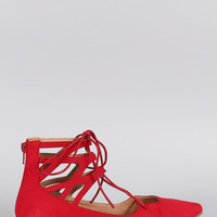 Liliana Suede Caged Cuff Lace Up Pointy Toe Ballet Flat