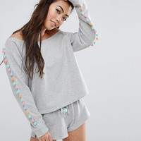 ASOS PETITE LOUNGE Off Shoulder Sweat & Shorts With Pom Poms Set at asos.com