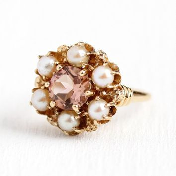 Peach Tourmaline Ring - Vintage 10k Rosy Yellow Gold 1.20 CT Gem & Pearl Halo - Size 5 Mid Century Pink Round Gemstone Fine Jewelry