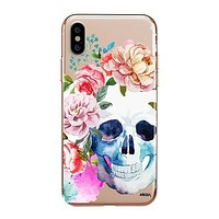 Colored Floral Skull - Clear TPU - iPhone Case