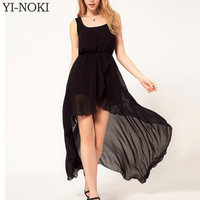 YI-NOKI Chiffon Women Dress Sexy Irregular Dresses Plus Size Fashion Black Dovetail Mixi Dress Round Neck Vest Beach Long Dress