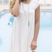 Secret Getaway Ivory T-Shirt Dress