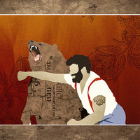 "Bear, Grizzly bear, Man Punchin Bear, Print,  Russian, Man Punching Bear, 18 x 24"", Matte Print"