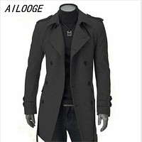 AILOOGE Winter Jacket Men Thick Long Trench Coat Warm Jacket Casual Outerwear Double-breasted Coat Windproof Slim Mens Overcoat
