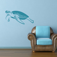 Swimming Sea Turtle Large Removable Matte Wall Vinyl Art sea turtles underwater ocean swimming turtle sticker nautical swim decor shell