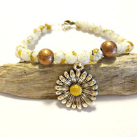 Yellow Beaded Sunflower Bracelet, Brushed Copper Bead Bracelet, Sunflower Charm Bracelet, Stacking Bracelet, Fall Jewelry, Autumn Trends