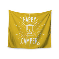 """Jackie Rose """"Happy Camper"""" Yellow Typography Wall Tapestry"""