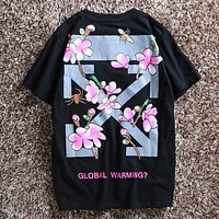 OFF-WHITE Stylish Women Men Floral Letter Print Short Sleeve Cotton T-Shirt Pullover Top Black I-CP-ZDL-YXC