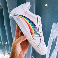Louis Vuitton Lv Sneakers 3D printing letter Rainbow Print Shoes White