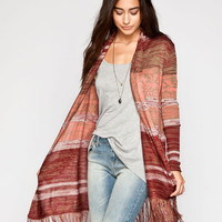 Full Tilt Boho Fringe Womens Cardigan Burgundy  In Sizes
